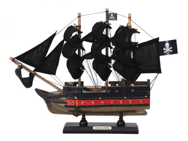 Wooden Captain Kidds Adventure Galley Black Sails Limited Model Pirate Ship 12