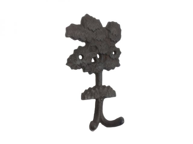 Cast Iron Oak Tree Decorative Metal Wall Hooks 6.5