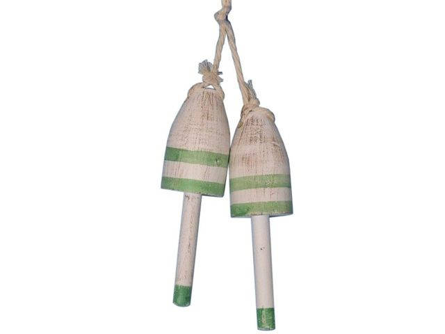 Set of 2 - Wooden Vintage Green Decorative Maine Lobster Trap Buoy 7