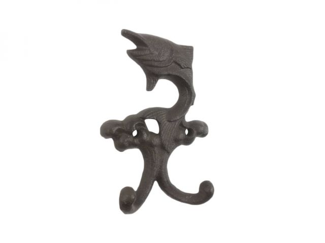 Cast Iron Flying Fish Decorative Metal Double Wall Hooks 5