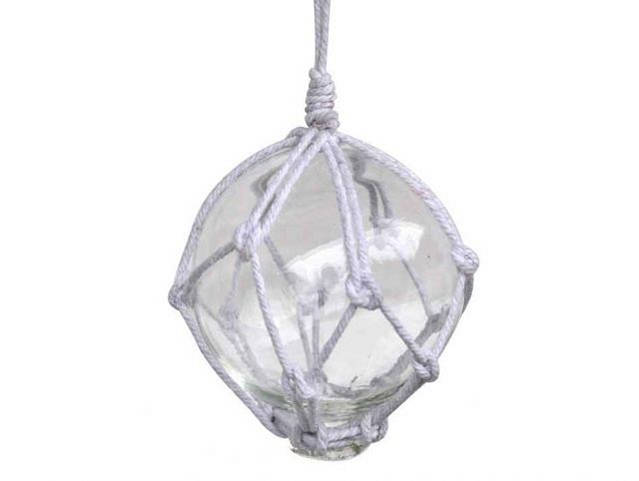 Clear Japanese Glass Ball Fishing Float With White Netting Decoration 3
