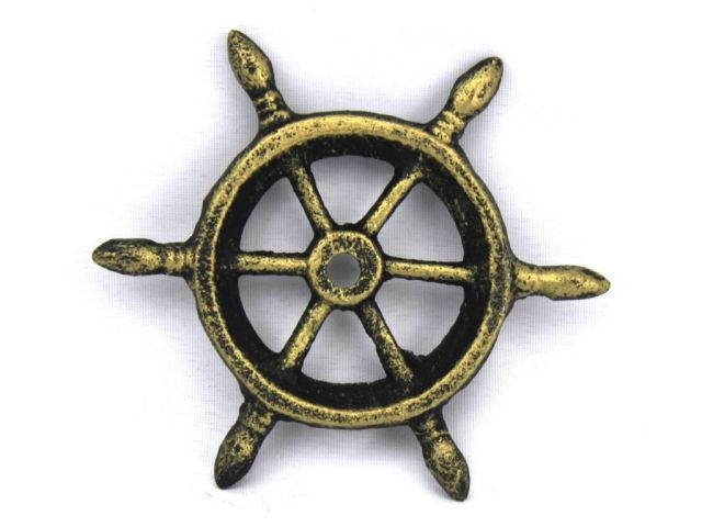 Antique Gold Cast Iron Ship Wheel Decorative Paperweight 4